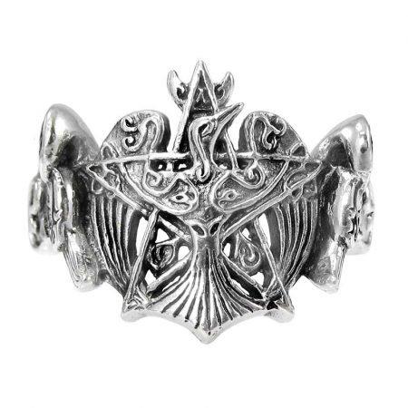 anello con pentacolo e corvo