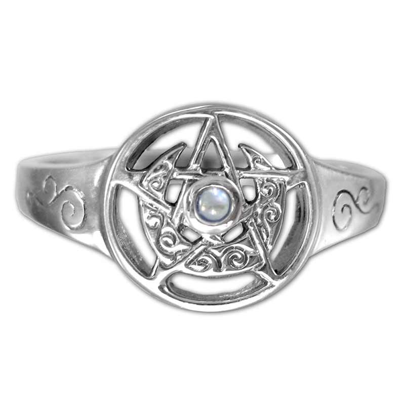 anello con pietra e Luna Crescente