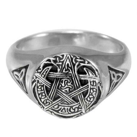 anello in argento con pentacolo e luna