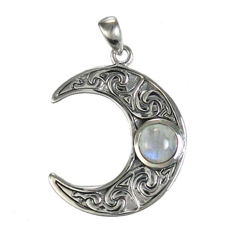 ciondolo luna in argento e pietra di Luna arcobaleno