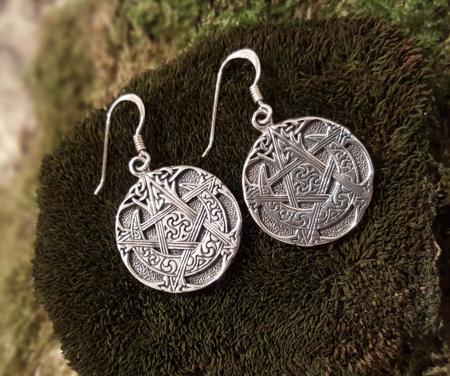 orecchini pendenti con pentagono e luna