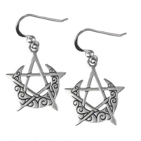 orecchini pendenti con Luna e Pentacolo