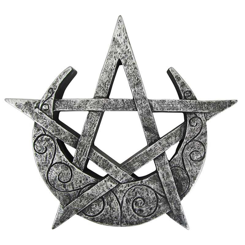Scultura pagana di luna Crescente e Pentacolo