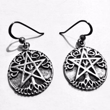 orecchini pendenti con Albero della Vita e Pentacolo