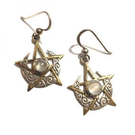 orecchini con Pietra di Luna pendenti in oro e argento