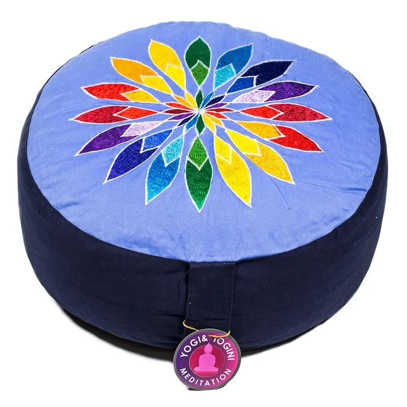 cuscino zafu con Fiore arcobaleno
